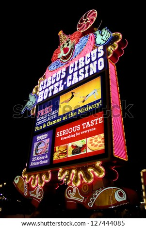 LAS VEGAS - AUGUST 26: Circus Circus Las Vegas clown sign on August 26, 2009 in Las Vegas, Nevada.  Circus Circus opened on the famous Las Vegas Strip in 1968.
