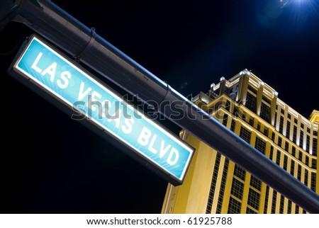 Las Vegas Boulevard street sign by night in Las Vegas (Nevada, USA)