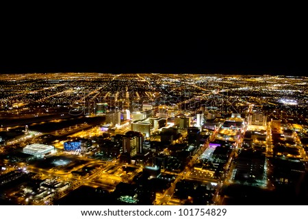 Las Vegas city viewed at night with all the lights on