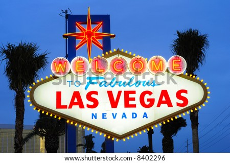 Las Vegas city welcome sign at dusk