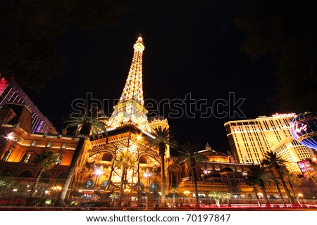LAS VEGAS - DEC 19: In Oct., 2010 gambling revenue soared 16% over 2009. Paris Las Vegas hotel and Casino shown on Dec. 19, 2010 in Las Vegas, NV.