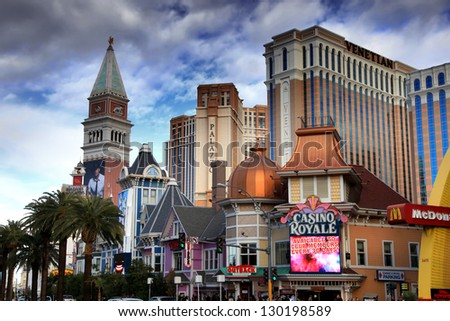 LAS VEGAS - DEC 27: LasVegas hotels and casino on December 27, 2012 in Las Vegas. Nevada casino's revenue in 2012 hit 10.8 billion USD