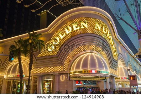 LAS VEGAS - DEC 07 : The Golden Nugget hotel and casino in downtown Las Vegas on December 07, 2012. Las Vegas in 2012 broke the all-time visitor volume record of 39-plus million visitors