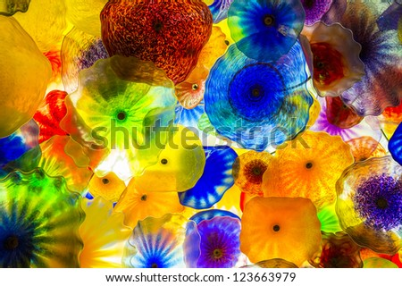 LAS VEGAS - DEC 05 : The Hand Blown Glass Flower Ceiling at the Bellagio Hotel on December 05, 2012 in Las Vegas. is comprised of 2,000  glass blossoms by glass sculptor Dale Chihuly