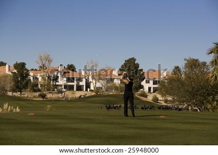 Las Vegas Desert Golf Course Woman on Tee Box