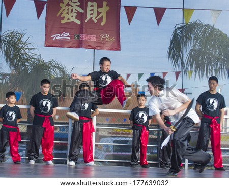 LAS VEGAS - FEB 09 : Chinese martial art performers at the Chinese New Year celebrations held in Las Vegas , Nevada on February 09 2014