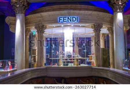 LAS VEGAS - FEB 18 : Exterior of a Fendi store in Las Vegas strip on February 18 , 2015.  Fendi is a multinational luxury goods brand owned by LVMH Moet Hennessy Louis Vuitton.