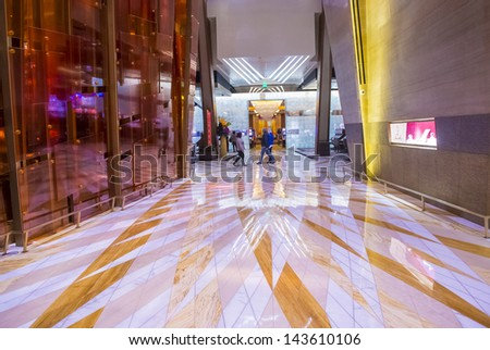 LAS VEGAS - FEB 14 : The interior of Aria Resort and Casino in Las Vegas on February 14 2013. The Aria was opened on 2009 and is the world's largest hotel to receive LEED Gold certification
