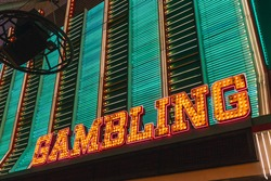 Las Vegas gambling bright sign at the Fremont Street, Downtown Las Vegas, Nevada, United States of America, North America.