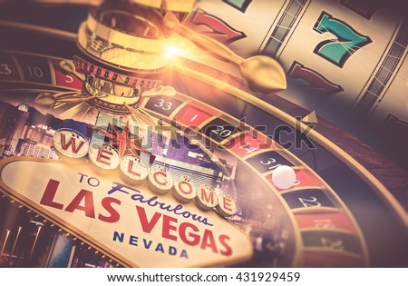 Las Vegas Gambling Concept. Roulette, Slot Machine and Las Vegas Welcoming Strip Sign. Playing in a Casino Conceptual Illustration.