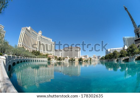 Las Vegas hotels reflecting in water Fisheye lens used to capture extra wide angle