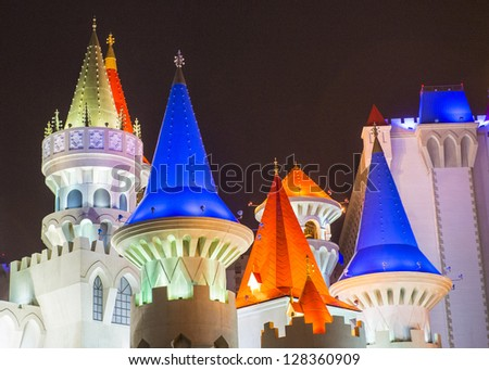 LAS VEGAS -JAN 09: The Excalibur Hotel and Casino at night on January 09, 2013 , The Hotel was named after King Arthur's sword and opened in 1990