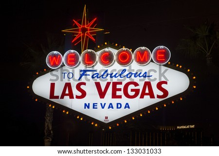 LAS VEGAS -JAN 24 : The Welcome to Las Vegas Sign on January 24, 2013 in Las Vegas. Las Vegas in 2012 is broke the all-time visitor volume record of 39-plus million visitors