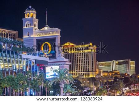 LAS VEGAS - JAN 09 : View of the strip on January 09, 2013 in Las Vegas. The Las Vegas Strip is an approximately 4.2-mile (6.8 km) stretch of Las Vegas Boulevard in Clark County, Nevada.