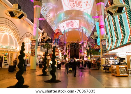 LAS VEGAS - JANUARY 2 : Fremont Street in Las Vegas on January 2, 2011. The street is the second most famous street in the Las Vegas. Fremont Street dates back to 1905, when Las Vegas was founded.