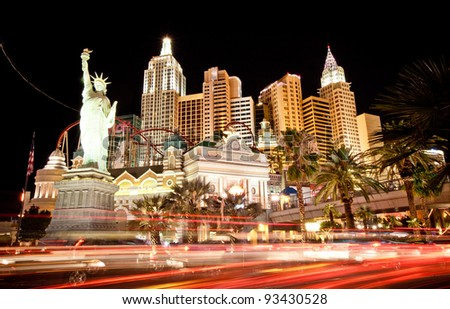LAS VEGAS - JUL 14: New York hotel-casino creating the impressive New York City skyline with skyscraper towers and Statue of Liberty on July 14, 2011 in Las Vegas, Nevada. It was opened in 1997