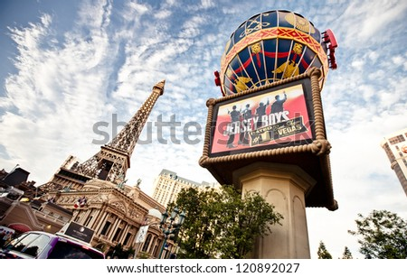 LAS VEGAS - JULY 30: Paris Las Vegas hotel and Casino featured with the theme of Paris in France on July 30, 2012 in Las Vegas, Nevada.