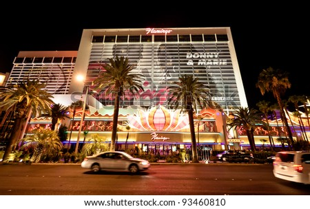 LAS VEGAS - JULY 13: The Flamingo Hotel on July 13, 2011 in Las Vegas, Nevada. The Flamingo, the oldest operating hotel on the Strip, offers a 77,000 sq ft casino along with 3,626 hotel rooms.