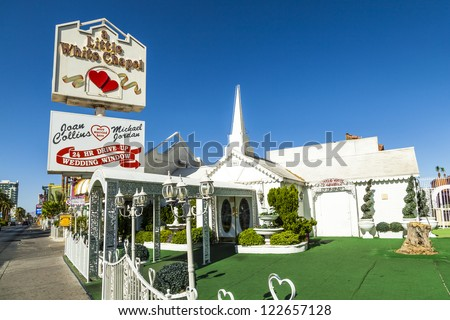 LAS VEGAS - JUNE 15: Little White Wedding Chapel on June 15, 2012 in Las Vegas, USA. Michael Jordan and Joan Collins married in that chapel.