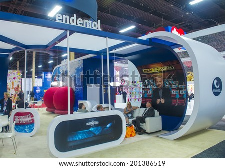 LAS VEGAS - JUNE 17 : The Endemol booth at the Licensing Expo in Las Vegas , Nevada on June 17 2014.  Licensing Expo is the licensing industry's largest annual event #201386519