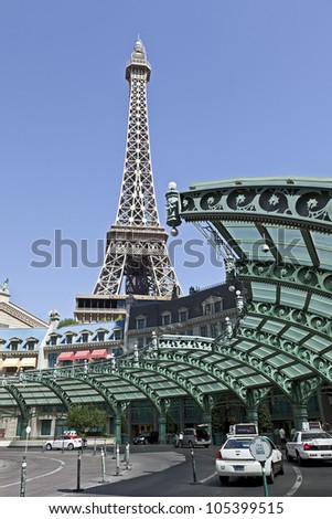 LAS VEGAS - JUNE 2, 2012: The Replica of Eiffel Tower at Paris Hotel and Casino in Las Vegas, Nevada on June2, 2012.  It's a luxury hotel and casino located on the famous Las Vegas Strip.