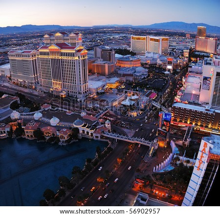 LAS VEGAS - MAR 4: City skyline at sunset marking the start of the fabulous night life of the city, March 4, 2010 in Las Vegas, Nevada.