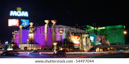 LAS VEGAS - MAR 4: MGM Grand Hotel, the second largest hotel in the world and second largest hotel resort complex in the United States, panorama at night on March 4, 2010 in Las Vegas, Nevada. - stock photo