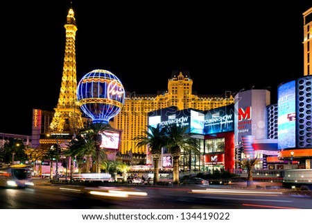 LAS VEGAS - MAR 18: Paris Las Vegas hotel and Casino is shown on March 18, 2013 in Las Vegas, Nevada. The Paris hotel and casino with replica of the Eiffel Tower.