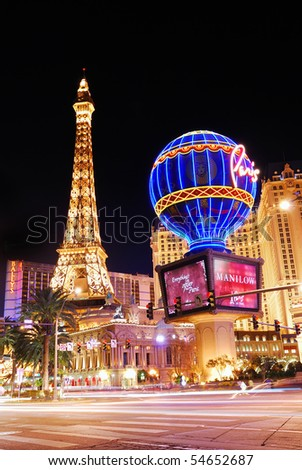 LAS VEGAS - MAR 4: Paris Las Vegas hotel and Casino sign in the shape of the Montgolfier balloon with the theme of Paris in France on March 4, 2010 in Las Vegas, Nevada.