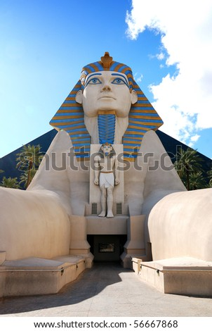 LAS VEGAS - MAR 4: Statue of Sphinx from Luxor Hotel Casino, the most recognizable hotels on the popular Vegas strip because of its striking design, March 4, 2010 in Las Vegas, Nevada.