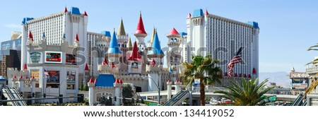 LAS VEGAS - MAR 18: The Excalibur hotel and Casino is shown on March 18, 2013 in Las Vegas, Nevada. The Excalibur opened on June 19, 1990