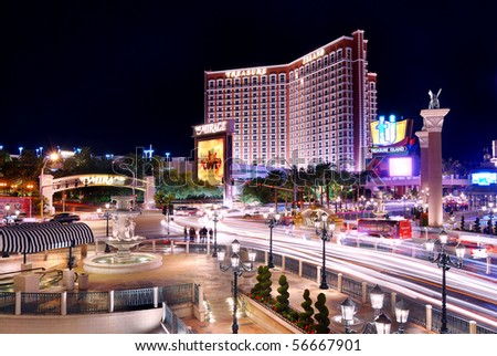 LAS VEGAS - MAR 4: Treasure Island located in the center of Vegas Strip with 2,664 rooms and 220 suites as the famous landmark on March 4, 2010 in Las Vegas, Nevada. - stock photo