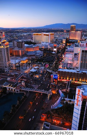 LAS VEGAS - MAR 4: Vegas Strip aerial view on March 4, 2010 in Las Vegas, Nevada. The Las Vegas Strip is 3.8 mile stretch featured with world class hotels and casino.