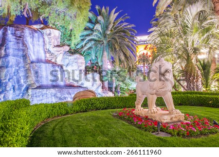 LAS VEGAS - MARCH 18 : The garden at the Mirage Hotel in Las Vegas on March 18 2015, The hotel Opened in 1989, and it has 2.884 rooms and a casino with 100,000 square feet of gaming space.