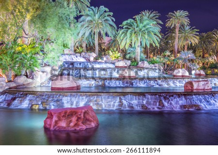 LAS VEGAS - MARCH 18 : The Mirage Hotel in Las Vegas on March 18 2015, The hotel Opened in 1989, and it has 2.884 rooms and a casino with 100,000 square feet of gaming space.
