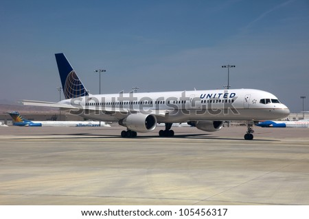 LAS VEGAS - MAY 1: A United Airlines Boeing 757 taxis on May 1, 2012 in Las Vegas. United Airlines is the world's second largest airline with 701 planes and some 96 million passengers in 2011.