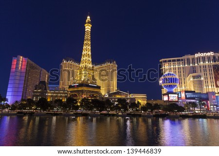 """LAS VEGAS - MAY 20, 2013 - Las Vegas Strip on May 20, 2013  in Las Vegas. Nevada has Spent Millions over the past few years to come up with a new slogan. """"Nevada: A World Within. A State Apart"""""""