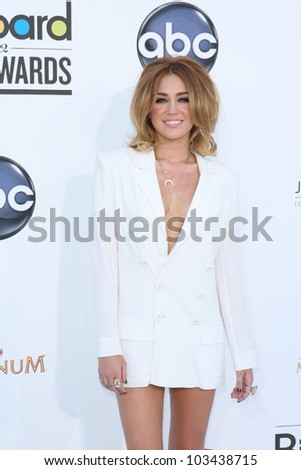 LAS VEGAS - MAY 20: Miley Cyrus at the 2012 Billboard Music Awards held at the MGM Grand Garden Arena on May 20, 2012 in Las Vegas, Nevada - stock photo