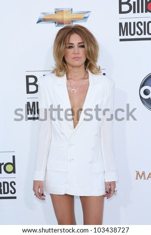 LAS VEGAS - MAY 20: Miley Cyrus at the 2012 Billboard Music Awards held at the MGM Grand Garden Arena on May 20, 2012 in Las Vegas, Nevada