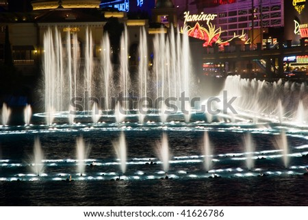 LAS VEGAS - MAY 2: Musical fountains at Bellagio Hotel & Casino on May 2, 2009 in Las Vegas. The Bellagio opened October 15, 1998, it was the most expensive hotel ever built at US$1.6 billion.