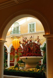 Las-Vegas - May 25, 2008: The beautiful flower-decorated interior of a Bellagio Hotel, in Las-Vegas, Nevada, USA