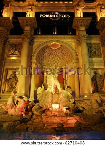 LAS VEGAS, NEVADA - AUGUST 8: Landmarks entertain tourists on a warm desert night, on August 8, 2010 in Las Vegas, Nevada.