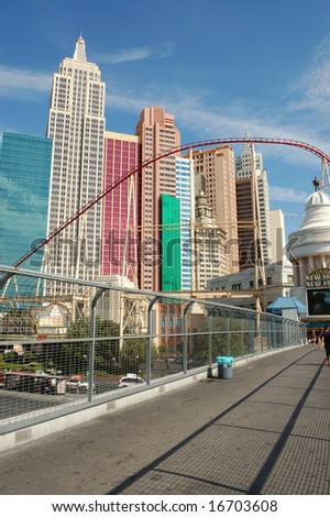 Las Vegas, Nevada - 05 August 2008: New York-New York Hotel & Casino; architecture recreates New York City skyline.