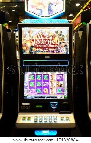 LAS VEGAS NEVADA DECEMBER 24 Slot machine in a public airport in Las Vegas NV on December 24 2013