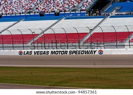 LAS VEGAS NEVADA - FEB. 10: Las Vegas Motor Speedway grandstands and track on February 10, 2012 in Las Vegas Nevada, USA