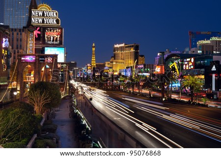 LAS VEGAS, NEVADA - FEBRUARY 10: Las Vegas strip on February 10, 2012 in Las Vegas Nevada.The Las Vegas Strip is an approximately 4.2-mile (6.8 km) stretch of Las Vegas Boulevard in Clark County, NV.