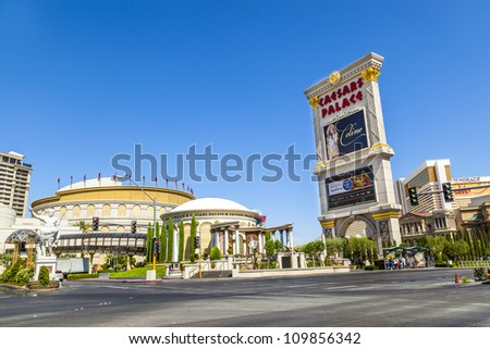LAS VEGAS, NEVADA - JUNE 15: Caesar's Palace on the Vegas Strip in Las Vegas, Nevada on June 15, 2012. This world class hotel opened in 1966, continues to expand and currently has six towers.
