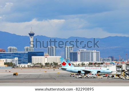 LAS VEGAS, NEVADA - MAR 4: Air Canada airplane waits to take off at McCarran Airport on March 4, 2011 in Las Vegas, Nevada. Air Canada is the largest airline of Canada and the world's ninth largest.