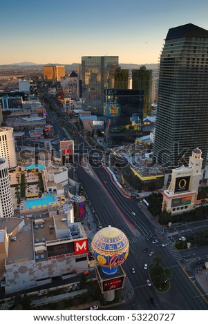 LAS VEGAS, NEVADA - MARCH 3,  Aerial view of Las Vegas strip, March 3, 2010 in Las Vegas, Nevada.