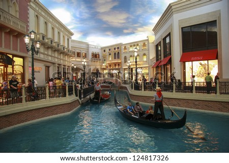 LAS VEGAS, NEVADA - MAY 4, 2009: Gondola trip indoors Venetian hotel in Las Vegas on May 4, 2009. The resort opened in 1999 and built at a cost of $1.5 billion